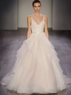 """67149af00326 Style 9605 Alvina Valenta bridal gown - Ivory   Cashmere tulle and lace  bridal ball gown with a sheer """"V"""" neckline and low ballerina scoop back."""