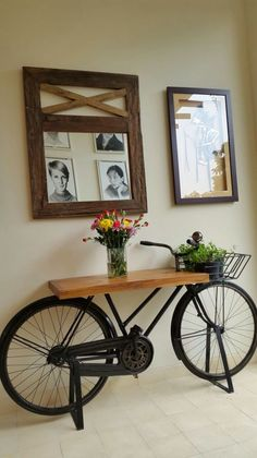 Incredible Industrial Farmhouse Coffee Table Ideas 11 – - All About Decoration Bicycle Decor, Table Cafe, Diy Home Decor, Room Decor, Crafts Home, Diy Casa, Diy Coffee Table, Coffee Ideas, Diy Furniture