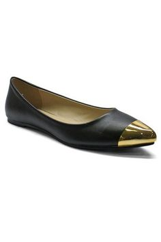 Natalie Gold Tip Flats - Black - $39.00 | Daily Chic Shoes | International Shipping