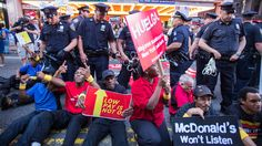 """""""Hundreds of Fast Food Workers Striking for Higher Wages are Arrested"""" by Steven Greenhouse. """"Twenty-one workers demanding a $15-an-hour wage were arrested while conducting a sit-in outside a McDonald's in Times Square on Thursday morning..."""" http://www.nytimes.com/2014/09/05/business/economy/fast-food-workers-seeking-higher-wages-are-arrested-during-sit-ins.html?hp&action=click&pgtype=Homepage&version=HpBlogHeadline&module=second-column-region&region=top-news&WT.nav=top-news"""