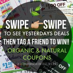 SWIPE& TAG A FRIEND TO SHARE THESE DEALS . This week has been unexpectedly busy Someday's I don't post here but always update the blog  So if ever your missing out on deals. Bookmark TomorrowsMom.com on your browser  to see deals tips health information. . . P.S I will choose a winner by Saturday morning. To win simply.. . 1LIKE THIS PIC. 2Tag a friend to share a deal they might like ;) 3Must be a follower. 4Enter as many times as you want but must tag a different friend. Bonus If you win…