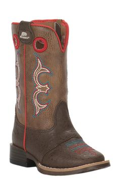 M&F Toddler Brown with Coral Trim Square Toe | Cavender's