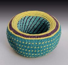 concepts, forms, materials, techniques, and processes related to basketry Linen Baskets, Tapestry Crochet, Weaving Art, Twine, Fiber Art, Decorative Bowls, Wax, Arts And Crafts, Artist