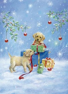 Sarah Summers Illustration (golden retriever pups at Christmas) Christmas Scenes, Noel Christmas, Christmas Animals, Winter Christmas, Christmas Presents, Christmas Card Pictures, Vintage Christmas Images, Illustration Noel, Christmas Illustration