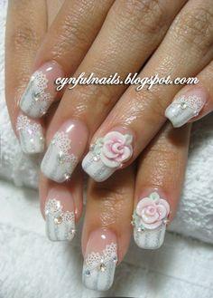 Crazy 3D Nail Art! :  wedding beauty glam nails wedding 99378 Gel+bridal+lace+stripes+roses+128 180 http://2.bp.blogspot.com/__hrUUQgzkXI/TLsZlnw-tPI/AAAAAAAAByA/OPlqVDvfhR4/s1600/99378_gel+bridal+lace+stripes+roses+128-180.jpg