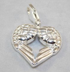 Charm - Sterling silver 18k white gold plated - Angel Wings with lobster-claw clasp