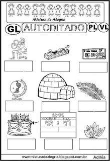 Autoditado para alfabetização com gl,pl,vl
