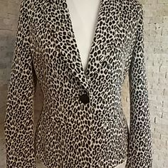 "Blazer Re-Listing with clearer pics. One Button Leopard Print Light Tan & Black. Excellent Condition worn 2 times. Wore it & didn't notice the back flap is still sewn closed. Measures 23"" Shoulder to bottom. Elementz Jackets & Coats Blazers"