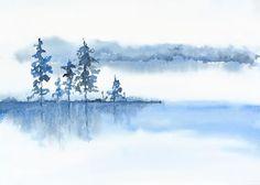 Blu grigio muro bianco acquerello arte stampa di NancyKnightArt