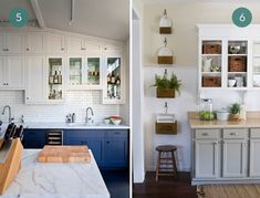 Eye Candy: Beautiful Two-Tone Kitchen Cabinets ~ Sam Best Food Recipes and Kitchen Design Ideas Cream Colored Kitchen Cabinets, Two Tone Kitchen Cabinets, Kitchen Set Up, Green Cabinets, Kitchen Cabinet Colors, Built In Cabinets, Upper Cabinets, Painting Kitchen Cabinets, Kitchen Colors