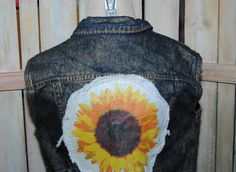 Womens Sunflower Jean Vest Adorable Summer Fun by GrapesAndBananas, $45.00