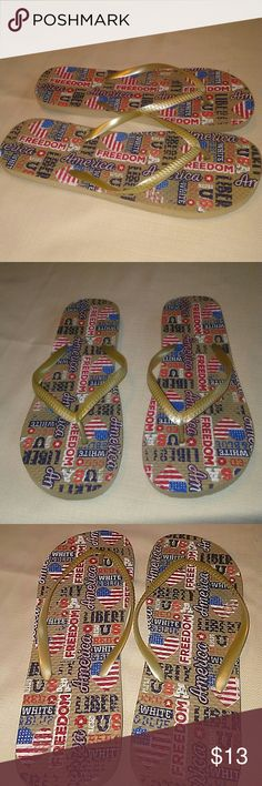 Flip Flops FREEDOM LIBERTY These fit size 9-10. COmfortable... Preowned...worn very little..No rips or signs of wear.....Our America....the home of the free and the brave! Shoes Sandals
