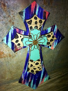 "3 layered cross - turquoise cross w/wire floral design / painted leopard print cross / coral, turquoise, & purple painted cross - 11x18""  on Etsy, $30.00"