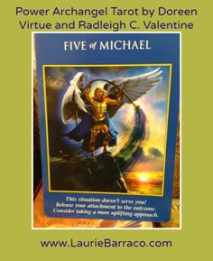 Card of the Day ~ 5 of Michael. A distressing situation is coming to a head. Archangel Michael's advice is to move forward but first remove your attachment to how you think it should all come together. If something isn't working, release and then revisit with another more positive approach.