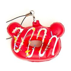 red Rilakkuma donut squishy cellphone charm sprinkles - Squishies -... ($3.54) ❤ liked on Polyvore featuring accessories