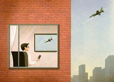 As ilustrações do italiano Marco Melgrati fazem as pessoas refletirem, com efeito, sobre algumas verdades inconvenientes dos tempos atuais.