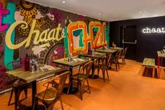 Energy, colour and innovation complete the transition from street-stall to vibrant debut restaurant in Chit Chaat Chai's new brand and interior by Avocado Sweets. Restaurant Interior Design, Shop Interior Design, Cafe Design, Design Shop, Store Design, Outdoor Restaurant, Restaurant Ideas, Snack House, House Wall Design