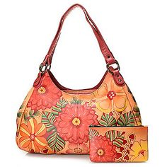 Anuschka Hand-Painted Leather Multi Compartment Hobo Handbag w/ Cosmetic Case