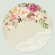 Shop Rustic Burlap Lace Floral Wedding Favor Classic Round Sticker created by CardHunter. Flower Background Wallpaper, Flower Phone Wallpaper, Flower Backgrounds, Frame Floral, Flower Frame, Flower Art, Wreath Drawing, Diy Resin Crafts, Decoupage Vintage