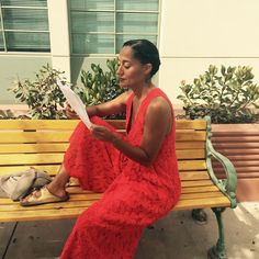 """Tracee Ellis Ross on Instagram: """"Brushing up on my lines for @blackishabc Season 2! Wearing a @rachelcomey jumpsuit and @isabelmarant sandals #today #blackish2"""""""