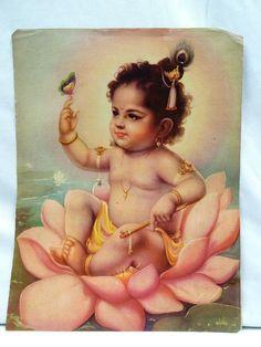 Old Lord Bal Krishna Sitting on Lotus Flower Vintage Lithograph Print Genuine