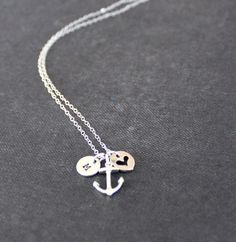 Anchor Necklace - Initial Necklace Sterling Silver by TheSilverWren $37