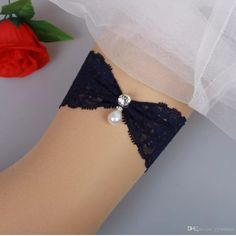 1e6c01af5d Vintage Bridal Garters Prom Garter Bridal Wedding Garter 2 Piece set Navy  Blue Lace Rhinestones Pearls In Stock Cheap Plus Size