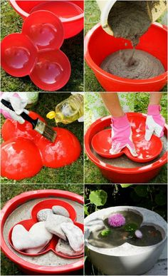 diy mini garden pond made of concrete and molds