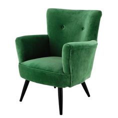 Velvet Armchair in Green Sao Paulo Maisons du Monde Affordable Furniture, Unique Furniture, Luxury Furniture, Furniture Ideas, Green Velvet Armchair, Home Staging, Green Furniture, Furniture Dolly, Single Chair