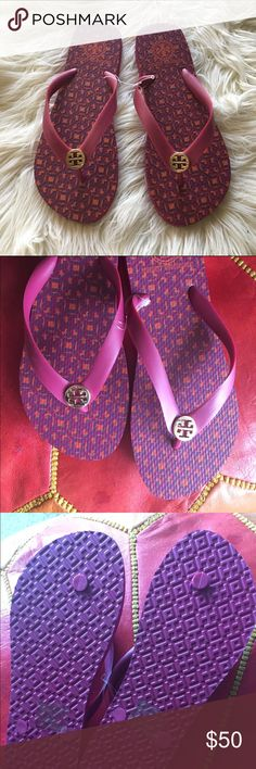 Tory Burch flip flops New with tag Tory Burch flip flops - fuscia, purple and orange. No box Tory Burch Shoes Sandals