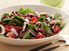 Super Food Spinach Salad with Pomegranate-Glazed Walnuts #myplate #veggies