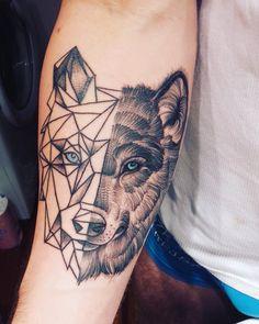 My tattoo. Polygon Wolf! I'm happy :)