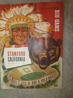 1952 55th Annual Big Game Football Program Stanford by kookykitsch, $35.00