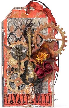 Steampunk Tag/mixed media / art / gears /fall Grunge/ rubberstamps /flower ideas