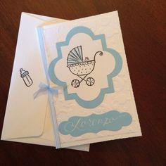 Biglietto auguri per nascita Greetings card new baby boy Fatto a mano / handmade www.rossomarte.com
