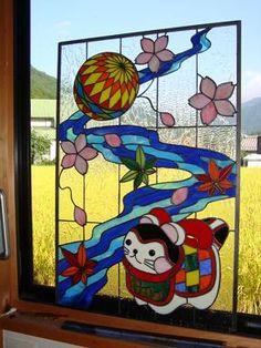 パネル完成 - 和風ステンドグラス「灯りや」ブログ Stained Glass Patterns Free, Stained Glass Crafts, My Glass, Old And New, Funny Animals, Architecture Design, Diy Projects, Japan, Quilts