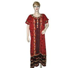 Bohemian Resort Wear Scarlet Red Floral Print Cotton Caftan Kaftan (Apparel)