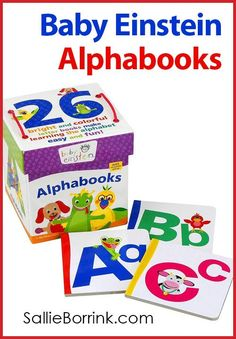 My daughter loved looking at Baby Einstein Alphabooks! Fun little books that are colorful and easy to hold in little hands. They come in a great box that makes them easy to store and drag around the house!