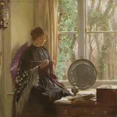 Harold Knight, Knitting, 1915