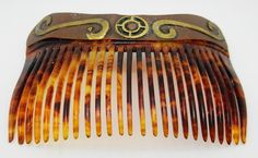 Beautiful Estate / Vintage Brass Copper & Tortoise Shell Plastic Hair Comb