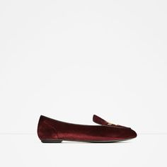 ZARA - WOMAN - FLAT VELVET SHOES WITH EMBROIDERY DETAIL