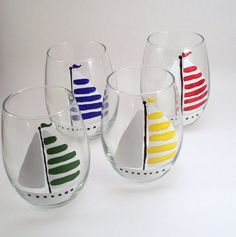 these would be cute and easy to make!Sailboats  stemless hand painted wine glasses  set of by RaeSmith, $55.00
