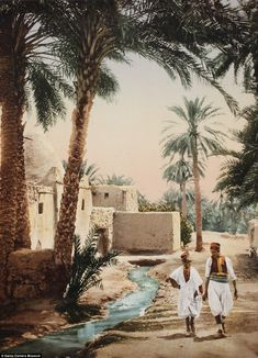 A man and a child walk along a stream running through the Old Town in the city of Biskra, Algeria in another picture transformed by colour more than a hundred years ago. Click to see a wonderful series of photographs.