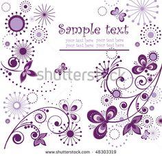 Greeting Vintage Violet Card Ilustración vectorial en stock 48303319 : Shutterstock