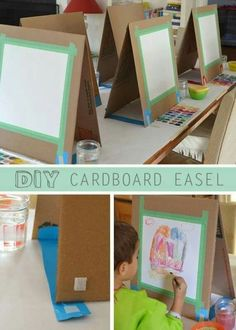 DIY Cardboard Easel There are many ways to make a quick easel. I might have learned quite a few tricks if I had actually researched before I made this project. But I'm much mo More<br> A quick and easy way to make a table easel out of cardboard. Kids Crafts, Projects For Kids, Art Projects, Car Crafts, Weaving Projects, School Projects, Kunst Party, Arte Elemental, Diy Easel