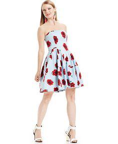 Betsey Johnson Strapless Floral-Print Dress
