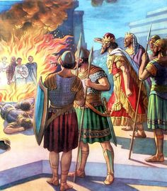 """Then Nebuchadnezzar came near to the mouth of the burning fiery furnace, and… Christian Symbols, Christian Art, Isaiah Bible, Fiery Furnace, Book Of Daniel, Bible Illustrations, Bible Pictures, Prophetic Art, Bible Stories"