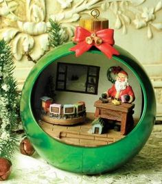santa's workshop musical ornament diorama