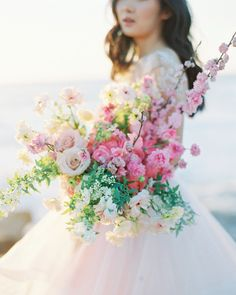 Pink wedding bouquet - overflowing bouquet with pink flowers and greenery {Carmen Santorelli Photography} Church Wedding Flowers, White Wedding Bouquets, Wedding Flower Arrangements, Bride Bouquets, Bridal Flowers, Floral Wedding, Pink Flowers, Rose Wedding, Greenery Bouquets