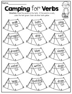 Verbs and Adjectives! Cut and sort the verbs and
